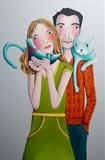 A Cats Tale by Marc Heaton, Painting, paint,pencil,pen,ink on wood