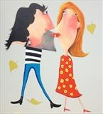 Autumn Kiss by Marc Heaton, Painting, commercial paint, ink, pen, pencil on wood