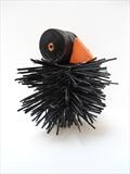 Baby black Bird by Marc Heaton, Sculpture, Cocktail sticks&wood