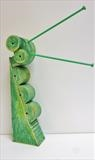 Big Green One by Marc Heaton, Sculpture, wood&Knitting Needles