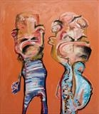 Big Men by Marc Heaton, Painting, Oil on Wood