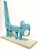 Blue Cat by Marc Heaton, Sculpture, Wood&Plaster painted