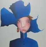 Bluebelle by Marc Heaton, Painting, Commercial paint pen pencil on wood