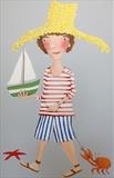 Boy with green boat by Marc Heaton, Painting, Commercial paint pen pencil on wood