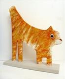 Cat 2014 by Marc Heaton, Sculpture, Plaster on wood painted