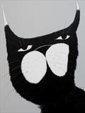 Cat Portrait by Marc Heaton, Painting, paint and pencil on wood