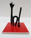 Chat Noir by Marc Heaton, Sculpture, Ceramic tile&Drill bits