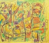 Drawing by Marc Heaton, Drawing, crayon on yellow paper