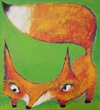 Fox by Marc Heaton, Painting, Acrylic,ink,pencil,pen on wood