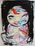 Girl by Marc Heaton, Drawing, Block printing water colour on paper