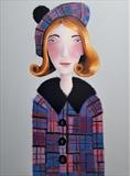 Girl in Tartan by Marc Heaton, Painting, paint,pencil,pen,ink on wood