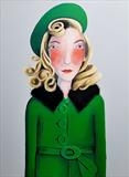 Girl in a green coat by Marc Heaton, Painting, paint,pencil,pen,ink on wood
