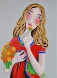 Girl with Flowers by Marc Heaton, Painting, paint and pencil on wood
