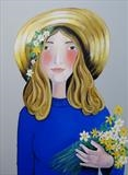 Girl with Sraw Hat by Marc Heaton, Painting, paint and pencil on wood