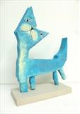 Happy cat by Marc Heaton, Sculpture, Plaster on wood painted