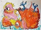 Hen Love by Marc Heaton, Painting, Acrylic on paper