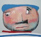 Hervé au chapeau bleu by Marc Heaton, Painting, Acrylic,ink,pencil,pen on wood