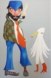 Kipper Tie by Marc Heaton, Painting, Commercial paint pen pencil on wood