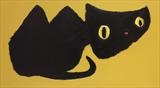 Le Chat Noir by Marc Heaton, Painting, commercial paint, ink, pen, pencil on wood