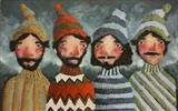 Mountaineers by Marc Heaton, Painting, Acrylic,inl on wood
