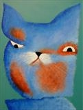 Mr& Mrs Cat by Marc Heaton, Painting, paint and pencil on wood