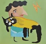 Mrs Jones and her Cat by Marc Heaton, Painting, Commercial paint on wooden panel