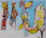 New Arrivals by Marc Heaton, Painting, Acrylic,ink,pencil on board