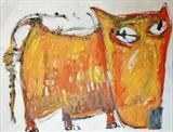 Orange Dog by Marc Heaton, Painting, Acrylic on paper