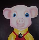 Pinky Glove Puppet by Marc Heaton, Painting, Oil on Wood