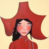 Spanish girl with red hat by Marc Heaton, Painting, commercial paint pencil and ink on wood
