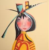 Spring fashion by Marc Heaton, Painting, commercial paint pencil and ink on wood