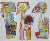 T.V Birds by Marc Heaton, Painting, Acrylic,ink,pencil on board