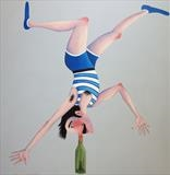 The Human Corkscrew by Marc Heaton, Painting, Commercial paint and pencil on wood