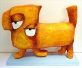 The Orange Dog by Marc Heaton, Sculpture, Wire and plaster painted on wood