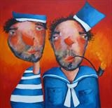 The Pipie Smoker and his Friend by Marc Heaton, Painting, Acrylic on wood