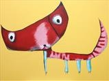 The Red Cat by Marc Heaton, Painting, Commercial paint pencil on wood