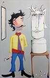The Sculptor by Marc Heaton, Painting, Commercial paint pen pencil on wood