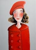 The girl in the red coat by Marc Heaton, Painting, paint,pencil,pen,ink on wood