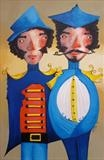 Two Friends by Marc Heaton, Painting, Acrylic on wood