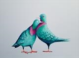 Two Pigeons by Marc Heaton, Painting, paint,pencil,pen,ink on wood