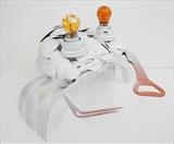 White crab by Marc Heaton, Sculpture, plastic spoons& metal forks&indicator bulbs