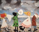 Windy Day at the Beach by Marc Heaton, Painting, commercial paint,ink,pen,pencil on wood