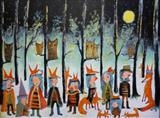 Winter festival by Marc Heaton, Painting, Acrylic,ink,pencil,pen on wood