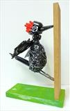Woody by Marc Heaton, Sculpture, Buttons,curtain hooks&plastic