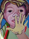 Yellow hand by Marc Heaton, Painting, Acrylic on canvas